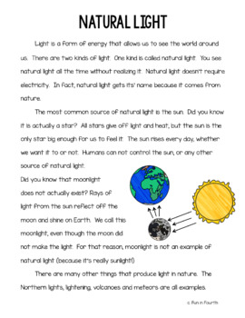 Natural and Artificial Light Interactive Notebook Lesson and Article