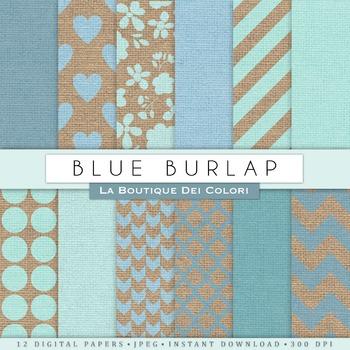 Blue Burlap Digital Paper, scrapbook backgrounds