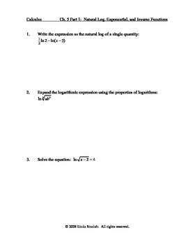 Natural Log, Exponential, Inverse Functions Assessment + Solutions / Calculus AP