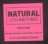 Natural Logarithms (Algebra 2 Foldable)