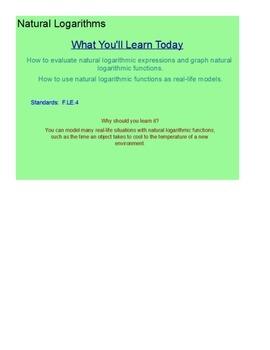 Natural Logarithms SmartBoard Lesson