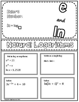 Natural Logarithms (ln) and Euler's Number Doodle Graphic Organizer Packet