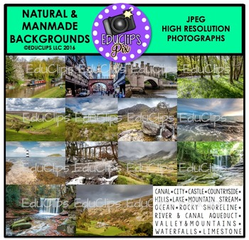 Natural & Manmade Backgrounds Photo Set {Educlips}