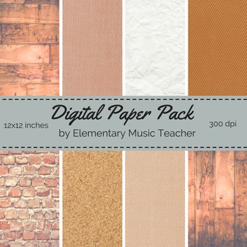 Natural Materials Digital Paper Pack - Wood, Fabric, Brick & Cork - 8 Designs