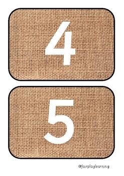 Natural Number Line Flashcards 0-50