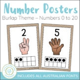 Burlap Number Posters - Early Years Classroom Decor - 0 to 20