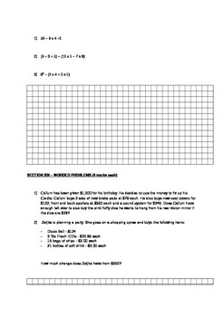 Natural Numbers Introductory Test - Includes worded questions.