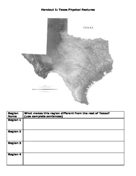 Natural Regions of Texas Map Lab