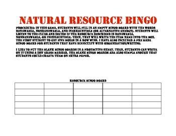 Natural Resource Bingo