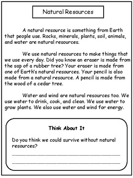 Science: Natural Resources for 2nd / 3rd Grade