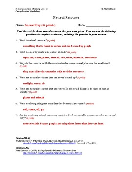 Natural Resources Article (Reading Level 1) Comprehension Worksheet