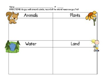 Natural Resources Chart for Science FREEBIE