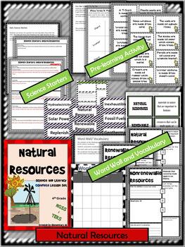 Natural Resources:Complete Lesson Set Bundle (TEKS & NGSS) 4th Grade