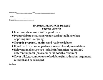 Natural Resources Debate Success Criteria