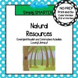 Natural Resources Emergent Reader Book AND Interactive Activities