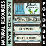 Natural Resources Foldable - Renewable vs Nonrenewable - Frayer Model Format