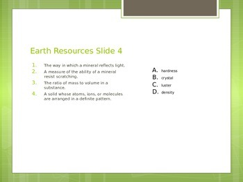 Natural Resources Formative Assessments
