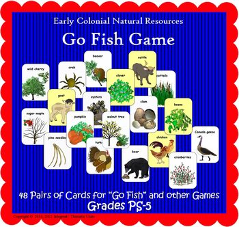 """Natural Resources """"Go Fish"""" Game (Included in Nat Resources of Colonial America)"""