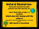 Renewable and Nonrenewable Resources:  Identify/ Compare t