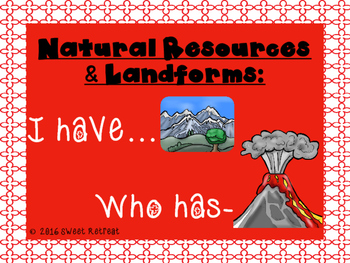 Natural Resources & Landforms I Have Who Has