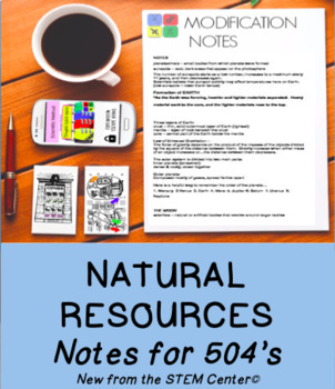 Natural Resources Notes: Great for IEP 504 Accomodations!
