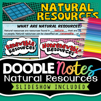 Natural Resources Notes - Renewable and Nonrenewable - Visual Doodle Worksheet