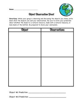Natural Resources Observation Sheet