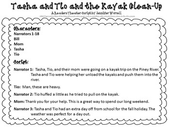 Natural Resources Readers Theater Script: Tasha and Tio and the Kayak Clean-Up
