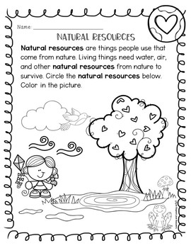 Natural Resources Reading Comprehension Mini Unit Earth Science