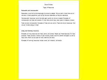 Natural Resources Renewable & Nonrenewable Study Guide & Worksheet