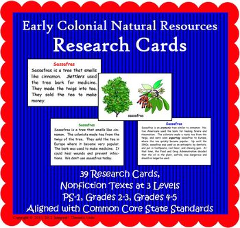 Natural Resources Research Cards (Included in Nat Resources of Colonial America)