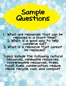 Natural Resources Review for Third Grade for Use in Quiz-E Games- EARTH DAY
