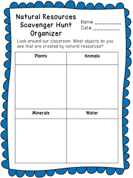 Natural Resources Scavenger Hunt with Graphing