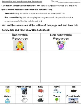 Natural Resources Sort Activities