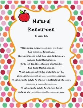 Natural Resources Sort Activities