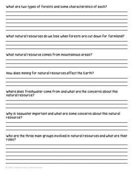 Natural Resources Web-Quest Reading Activity