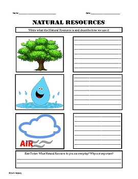 Natural Resources Worksheet by Rich History | Teachers Pay Teachers