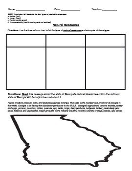 Natural Resources and Georgia Worksheet