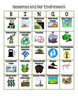 Natural Resources and the Environment BINGO