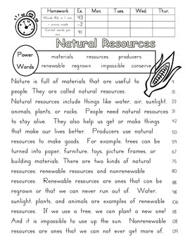 Natural Resources fluency passage, close reading, and prefix practice