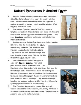Natural Resources Of Ancient Egypt By Beth Tice TpT - Egypt natural resources