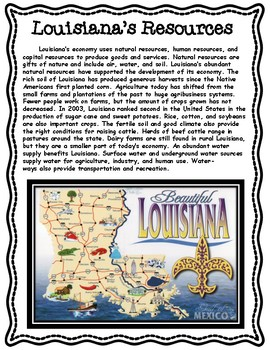 Natural Resources of Louisiana Informational Text