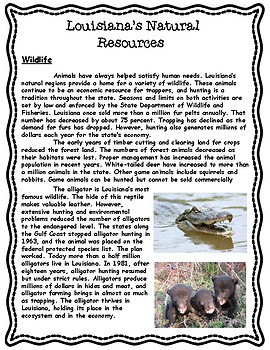 Natural Resources of Louisiana Informational Article