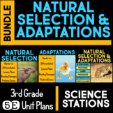 Natural Selection & Adaptations 5E Unit AND Science Station BUNDLE 3rd Grade
