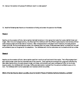 Natural Selection & Evolution 4 Version Quiz
