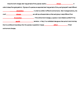 Natural Selection & Evolution CLOZE Worksheet