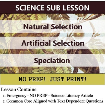 Natural Selection & Speciation - Science Common Core Article - Sub or Homework