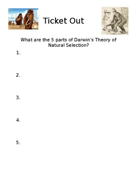 Natural Selection Ticket Out (or Do Now!)