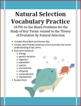 Natural Selection Vocabulary Practice: FITB x18