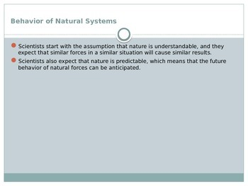 Natural Systems, Scientific Method, Scientific Measurements and Analysis